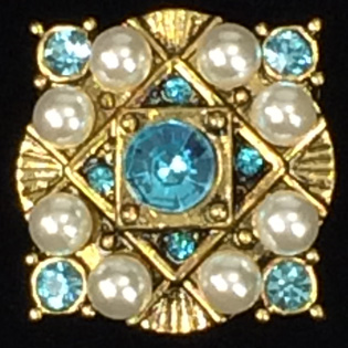 Antique gold w Aquamarine